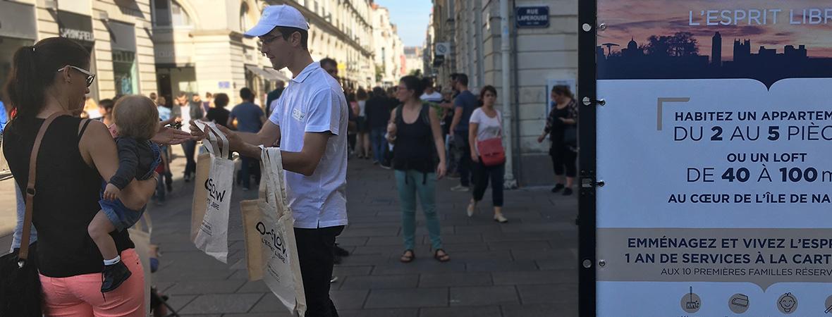 Bati Nantes multi-dispositif : diffusion en BAL, cravatage, distribution de sac et viennoiseries - NON STOP MEDIA Atlantique