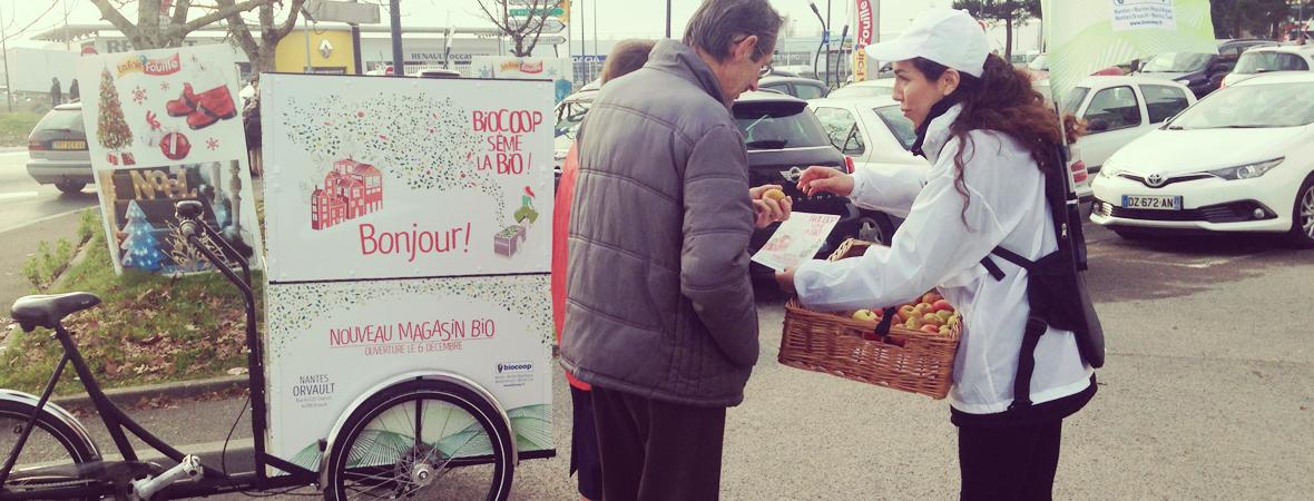 Biocoop - Affichage mobile - street marketing - dépôt - NON STOP MEDIA Atlantique