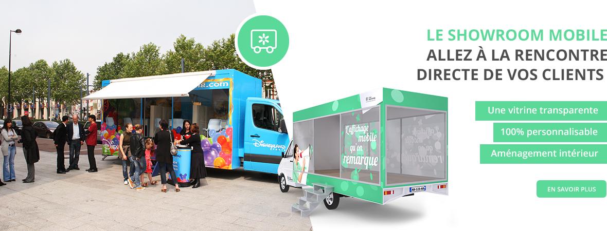 Le camion vitrine mobile, le camion showroom mobile - Affichage mobile - NON STOP MEDIA Atlantique