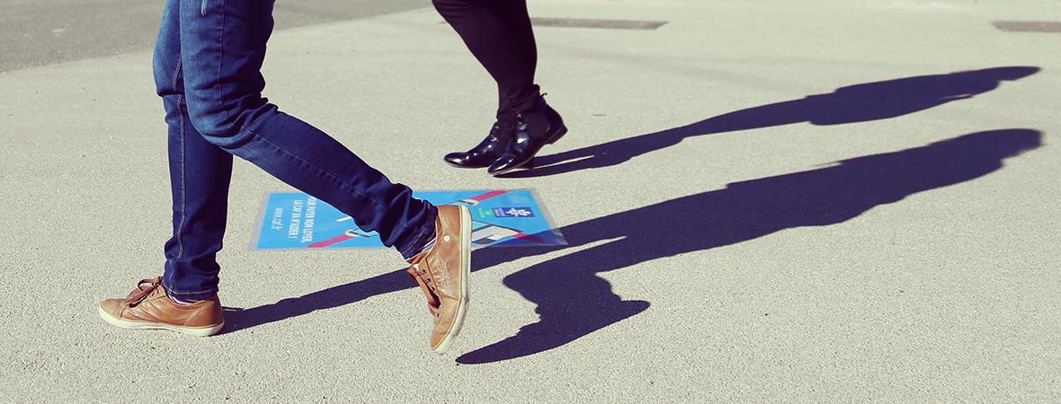 marquage au sol clean tag - street marketing - NON STOP MEDIA Atlantique