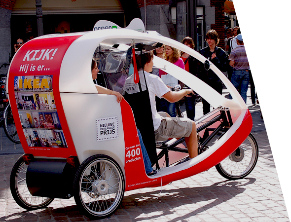Ikea - Affichage mobile écologique - Vélo-taxi - Gumba, le vélo taxi - Groupe NON STOP MEDIA