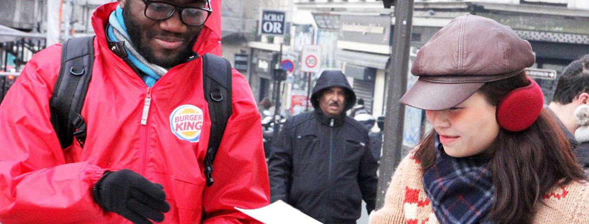 Diffusion street marketing pour Burger King avec le Groupe NON STOP MEDIA