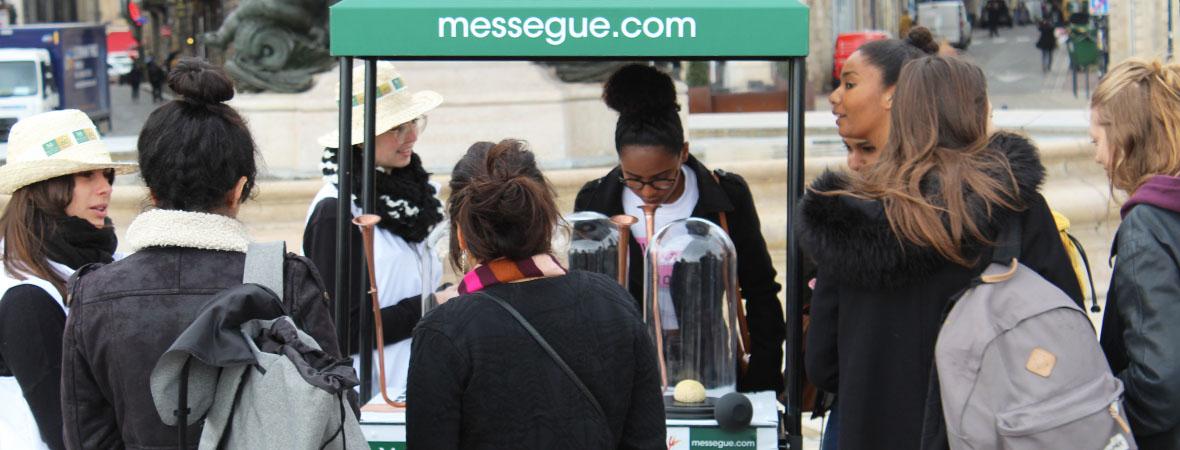 affichage mobile et animation street marketing pour les laboratoires Messegué avec le Groupe NON STOP MEDIA