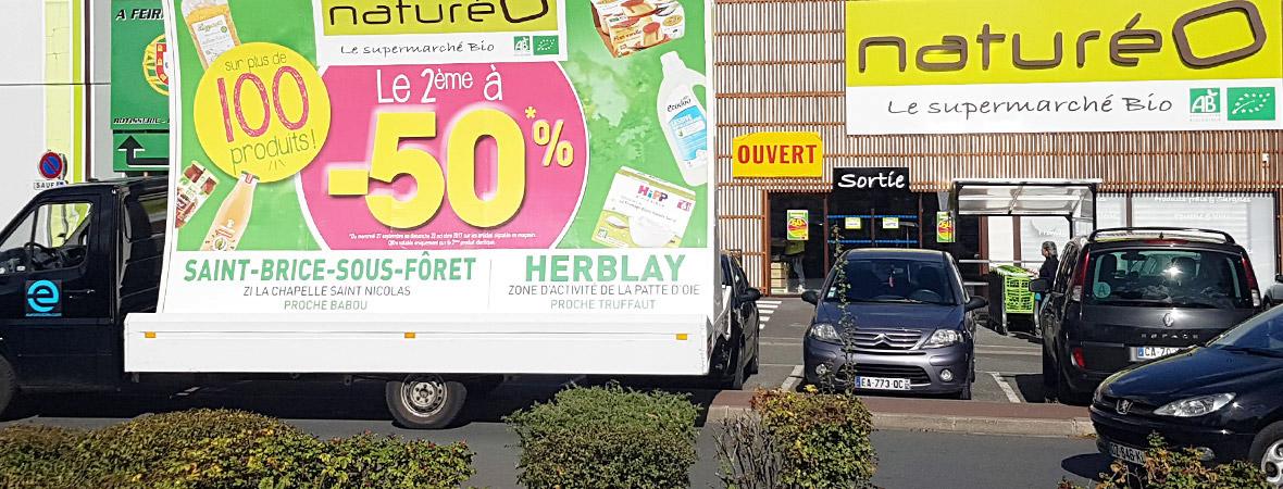 Natureo communique en affichage mobile avec camions publicitaires - NON STOP MEDIA IDF