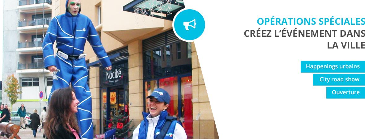 Opérations spéciales - Créer l'évènement dans la ville - Street marketing - NON STOP MEDIA Ile de France