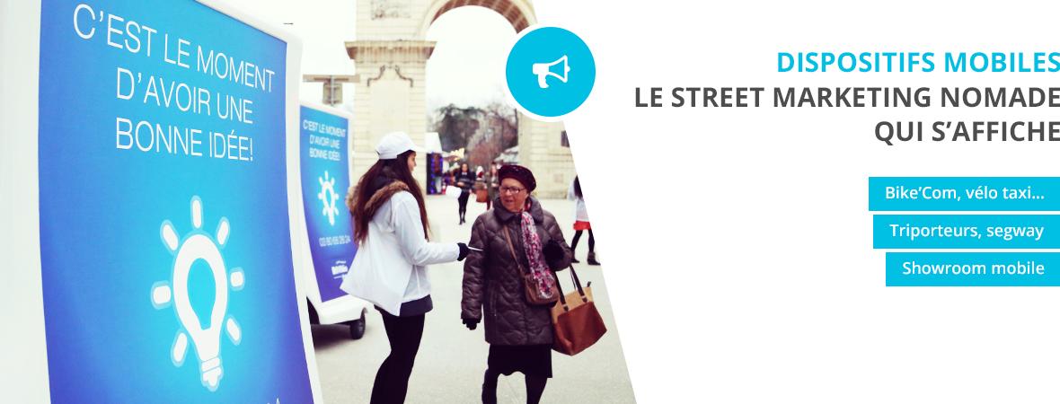Affichage publicitaire mobile - Street marketing - NON STOP MEDIA Ile de France