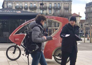 Des vélos taxis SFR à Grenoble