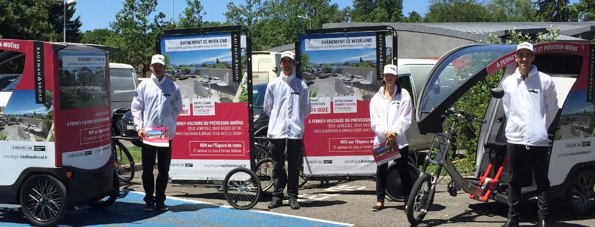 K&B communique en affichage mobile Bike'Com et Gumbas