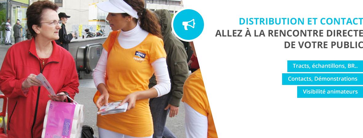 Distribution de tracts et echantillons - street Marketing - NON STOP MEDIA Rhône Alpes