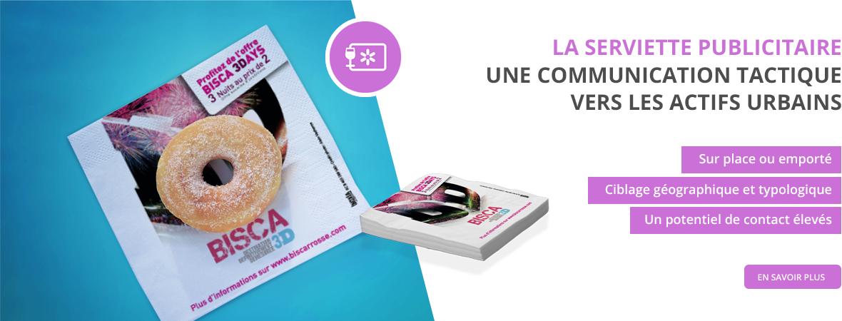 serviettes de table publicitaire - Medias tactiques - NON STOP MEDIA Rhône Alpes