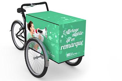 Le vélo triporteur publicitaire - Affichage publicitaire mobile