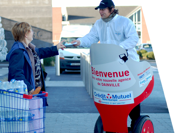 Crédit Mutuel - Affichage mobile - Segway - Groupe NON STOP MEDIA