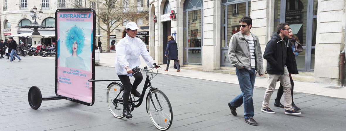 affichage Bike'Com pour Air France avec NON STOP MEDIA Aquitaine