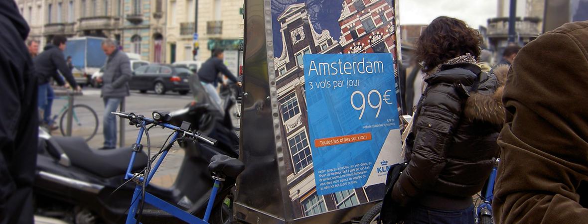 Air France KLM en Bike'Com et Cart'Com - street marketing - NON STOP MEDIA Aquitaine