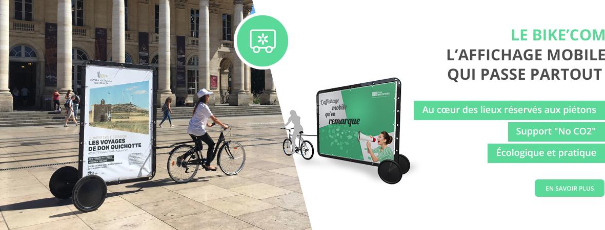 Vélo publicitaire Bike'Com - Affichage mobile - NON STOP MEDIA Aquitaine