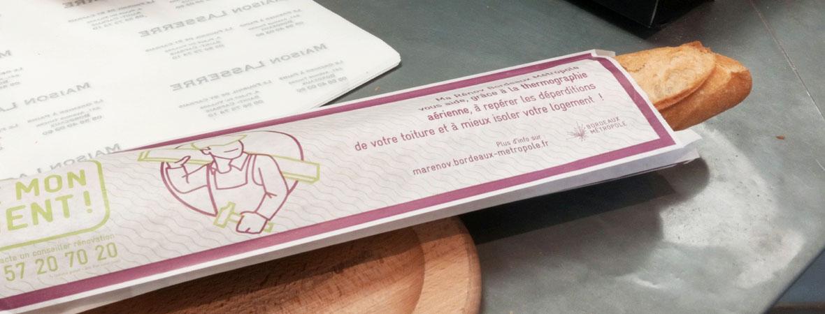 sacs à baguette publicitaires pour Bordeaux Metropole avec NON STOP MEDIA Aquitaine