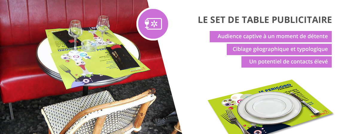 sets de table publicitaires pour restauration - Medias tactiques - NON STOP MEDIA Aquitaine