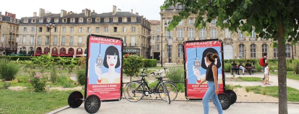 affichage mobile du Bike'Com par Groupe NON STOP MEDIA pour Air France