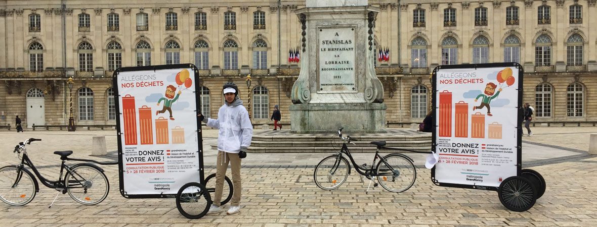 Affichage mobile Bike'Com par Groupe NON STOP MEDIA pour la métropole du Grand Nancy