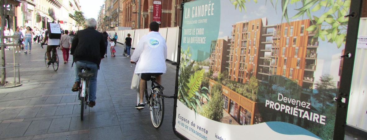dispositif Bike'Com par Groupe NON STOP MEDIA pour Icade