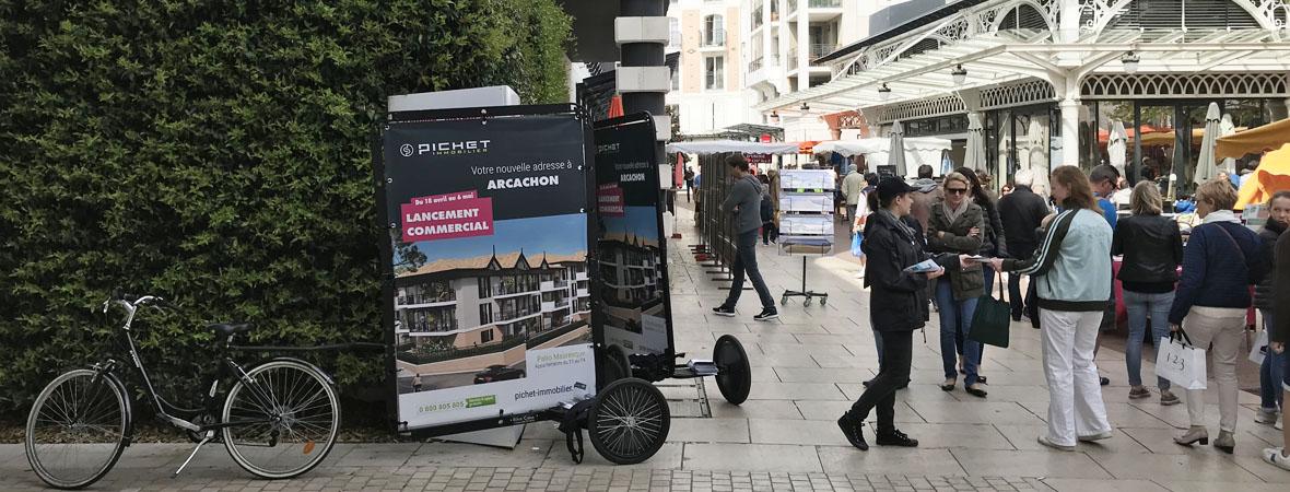 vélo publicitaire Bike'Com par Groupe NON STOP MEDIA pour Pichet