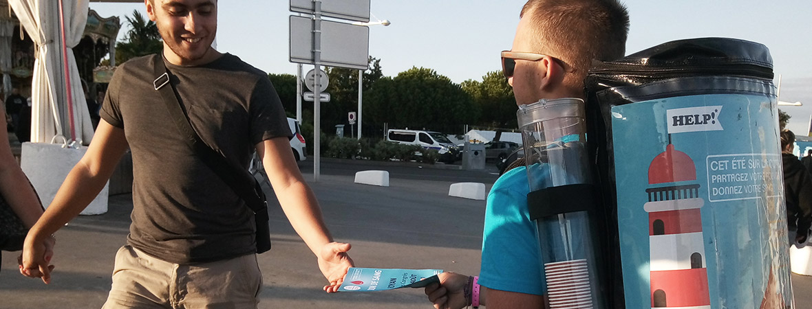 Street marketing avec Drink'man pour l'EFS - NON STOP MEDIA Centre
