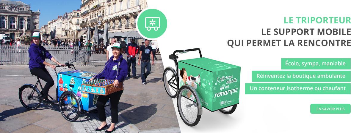 vélo triporteur publicitaire pour le street marketing - support publicitaire mobile - NON STOP MEDIA Centre - Val de Loire