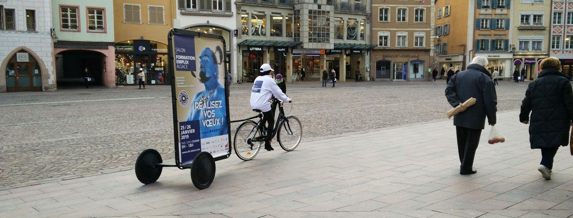 Vélo publicitaire pour la CCI Campus Alsace avec NON STOP MEDIA Grand Est
