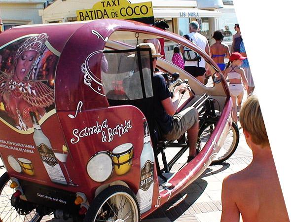 Batida - Affichage Mobile vélo taxi - Gumba - Groupe NON STOP MEDIA
