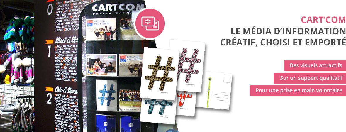 Cart'Com, la carte postale publicitaire - Le média d'information créatif choisi et emporté - Groupe NON STOP MEDIA