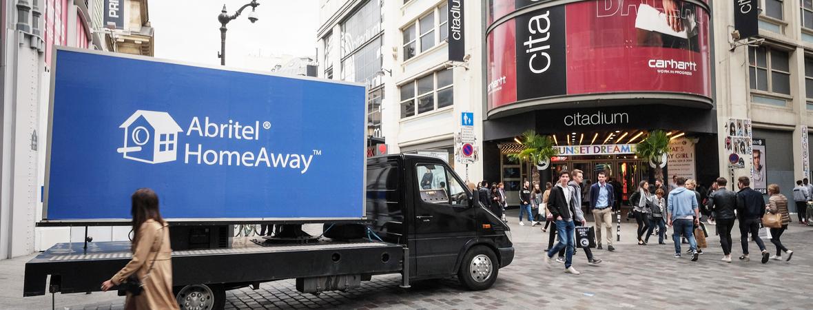 Affichage mobile pour Abritel Homeaway avec Groupe NON STOP MEDIA