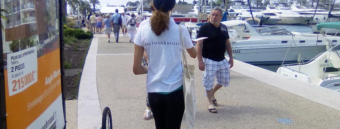 street marketing et vélo publicitaire pour Kaufman and Broad avec Groupe NON STOP MEDIA