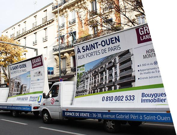 Bouygues Immobilier - Affichage mobile - Camion Concave - NON STOP MEDIA Ile de France