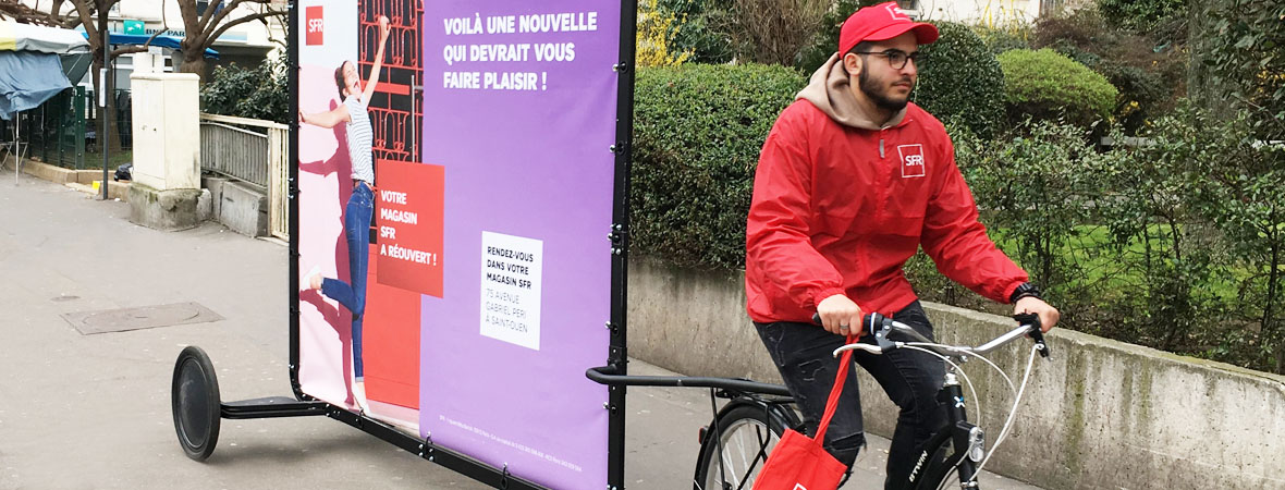 Street marketing, affichage mobile et animation pour SFR - NON STOP MEDIA Ile de France