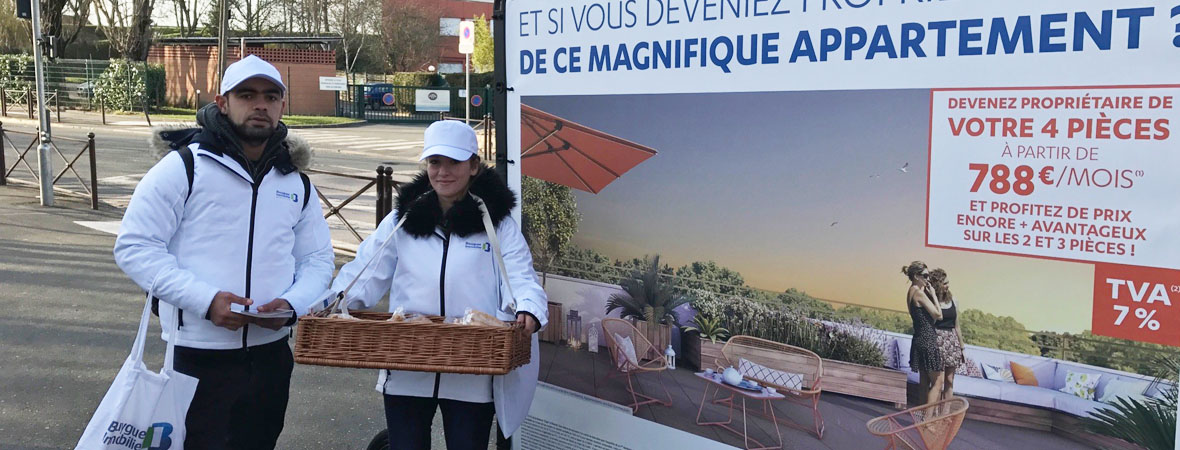 Affichage mobile, street marketing et animation drinkman pour Bouygues Immo - NON STOP MEDIA IDF