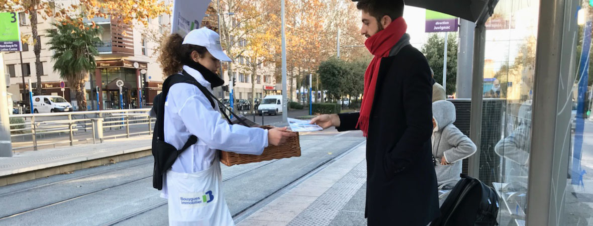 Diffusion street marketing pour Bouygues Immo avec NON STOP MEDIA Occitanie