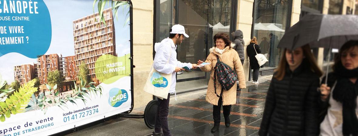 Visibilité Bike'Com pour Icade pour NON STOP MEDIA Occitanie
