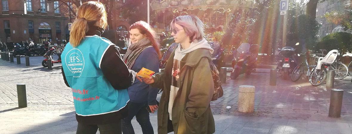 Diffusion street marketing pour l'EFS avec NON STOP MEDIA Occitanie