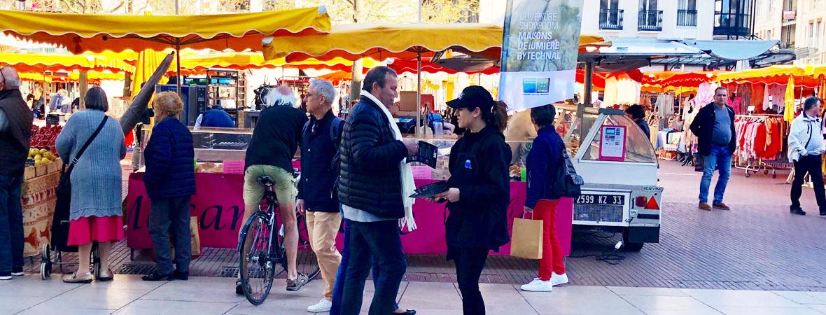 Distribution street marketing pour Technal avec NON STOP MEDIA Occitanie