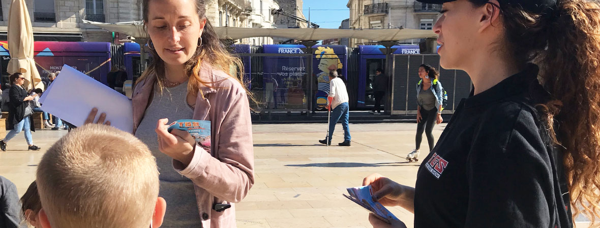Diffusion en street marketing pour TGS Montpellier avec NON STOP MEDIA Occitanie