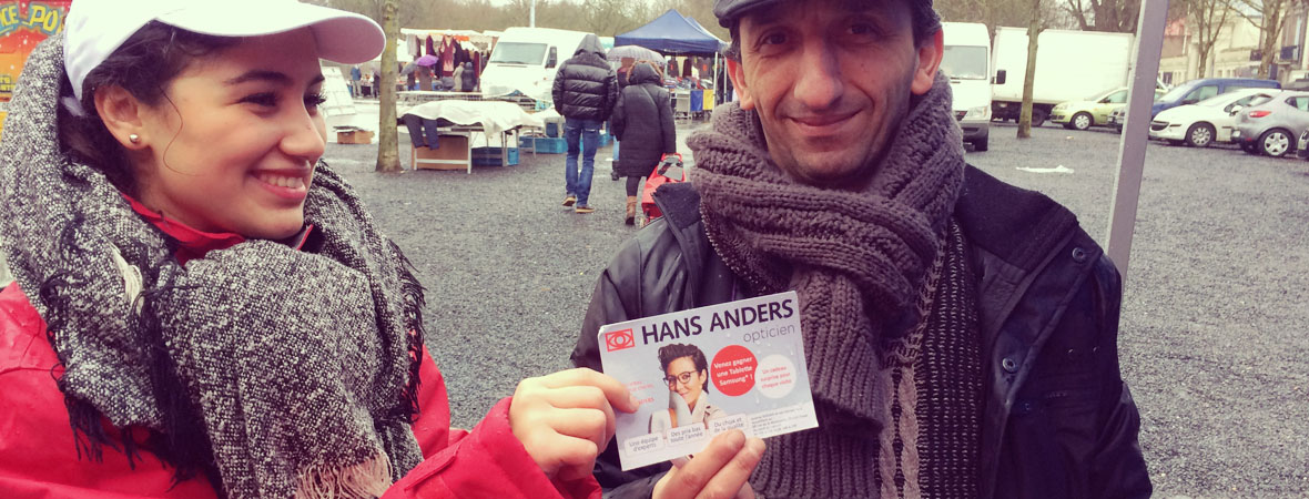 Opération street marketing pour les opticiens Hans Anders - NON STOP MEDIA Nord