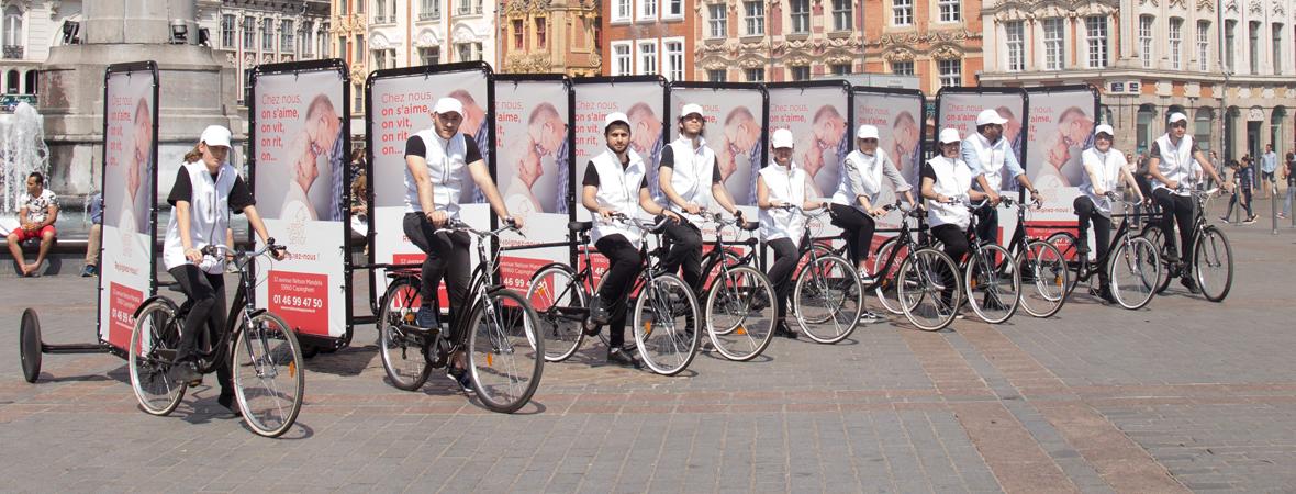 Affichage mobile du Bike'Com pour Duval avec NON STOP MEDIA Nord