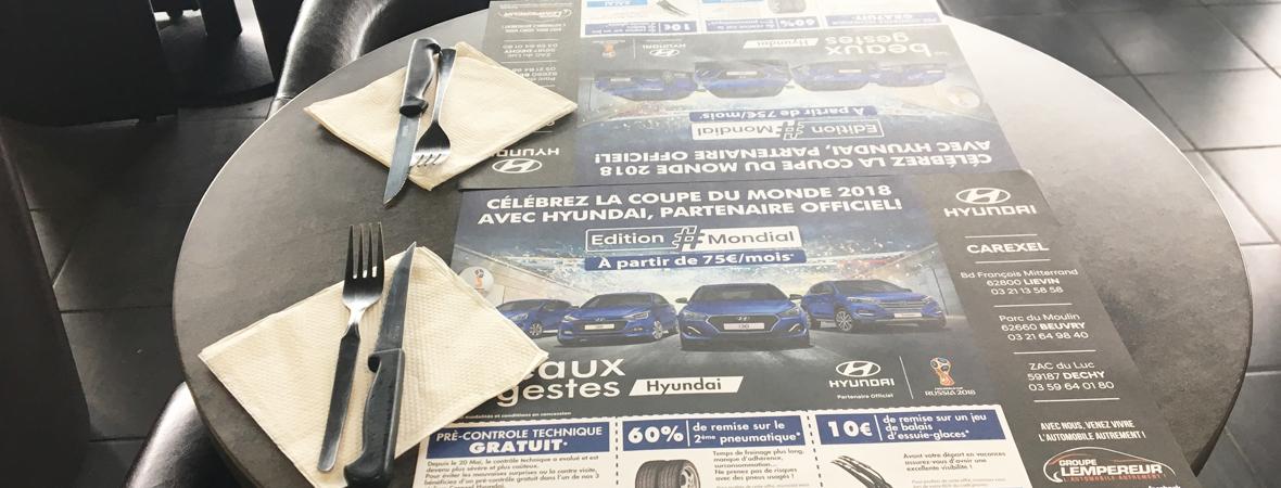 Sets de table publicitaires et sous bock pour Hyundai avec NON STOP MEDIA Nord