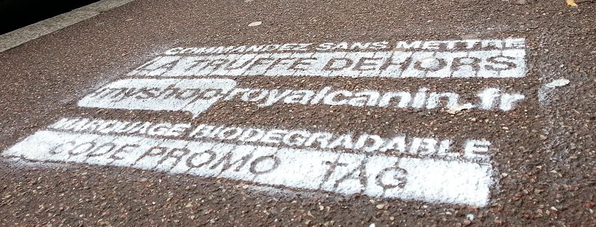 Marquage au sol clean tag, street marketing - NON STOP MEDIA Normandie