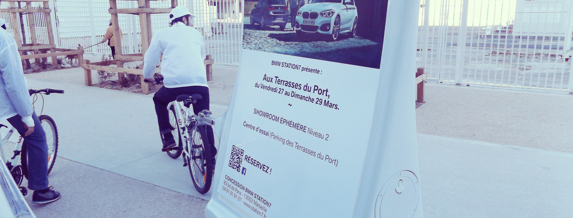 BMW - Affichage mobile - street marketing- diffusion et dépôt - NON STOP MEDIA PACA