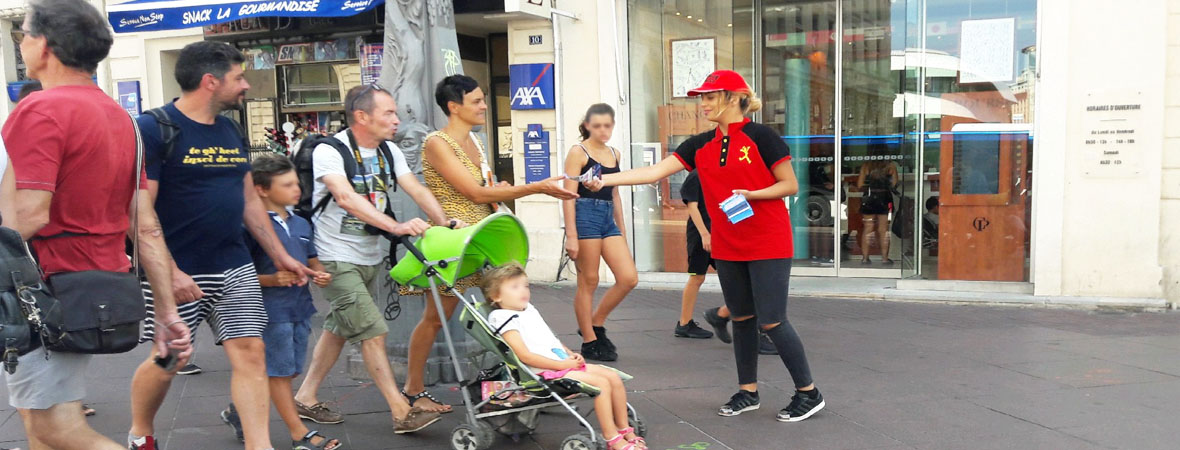 Diffusion street marketing pour le Parc Spirou avec NON STOP MEDIA PACA