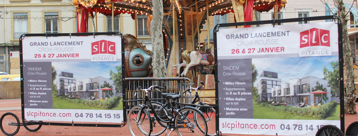 Affichage mobile et diffusion street marketing pour SLC avec NON STOP MEDIA Rhone Alpes