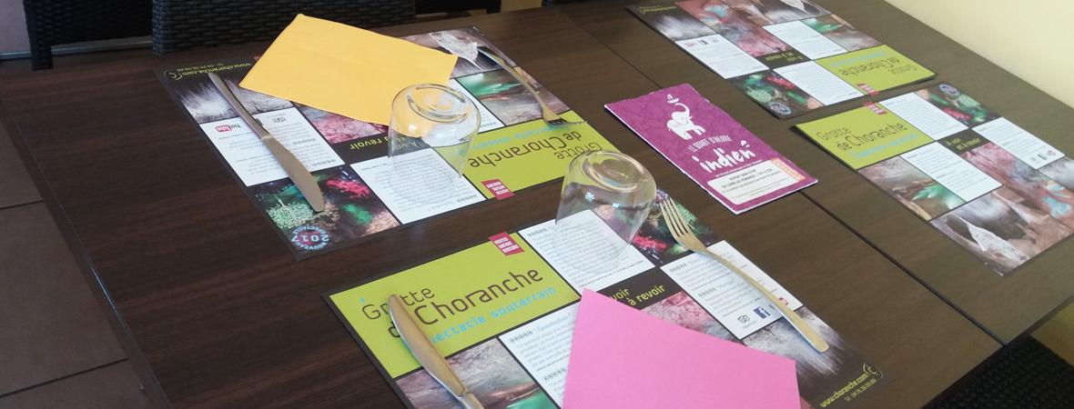 Diffusion de sets de table publicitaires pour Choranche avec NON STOP MEDIA Rhône Alpes
