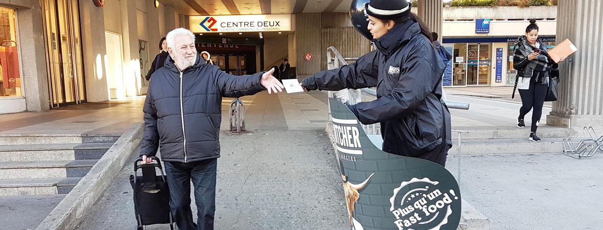 Diffusion street marketing en Segway pour Brut Butcher avec NON STOP MEDIA Rhone Alpes