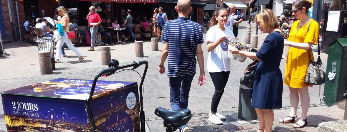 Triporteur événementiel pour Only Lyon avec NON STOP MEDIA Rhone Alpes